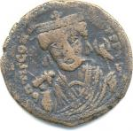 Byzantine Follis, Tiberius II, shown for comparison