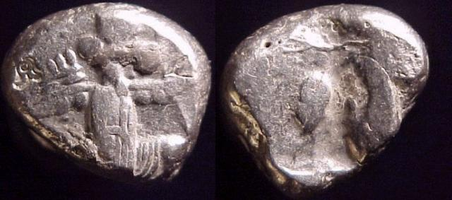 Achaemenid Persian Empire, Lydia, AR Siglos, Time of: Artaxerxes I - Darius III, 450-330 BC.