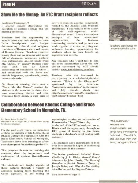 Cathy's article in PRIMA 2nd page